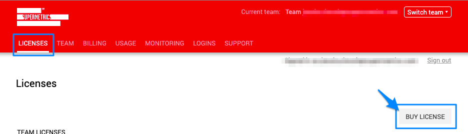 "Blue arrow points to ""BUY LICENSE"" option in the LICENSES tab of the Team Management site."