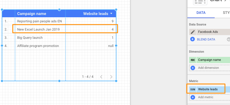 "Example setup to get ""Leads"" result from the ""Website leads"" metric."