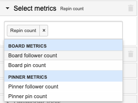 Example showing Repin count for pins