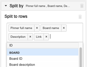 Example selection of dimensions for the pin details like board name, description, and link