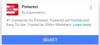 Partner connector card for Pinterest connector by Supermetrics