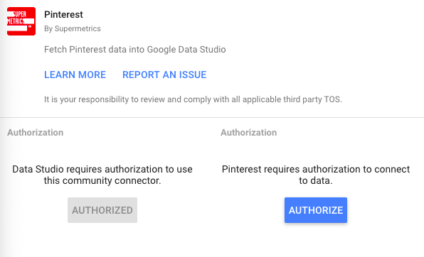 Pinterest public data connector authorization process