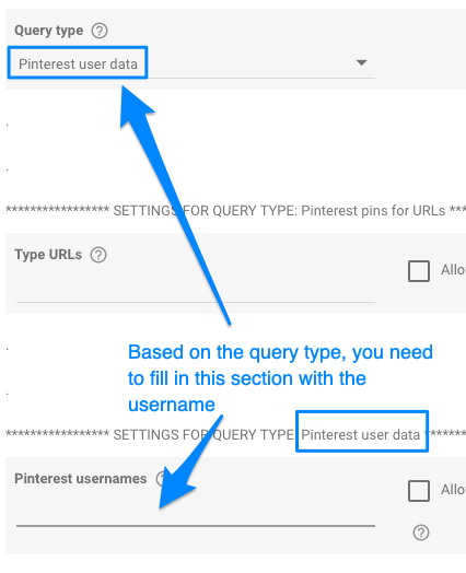 Example showing user name is missing from query type settings