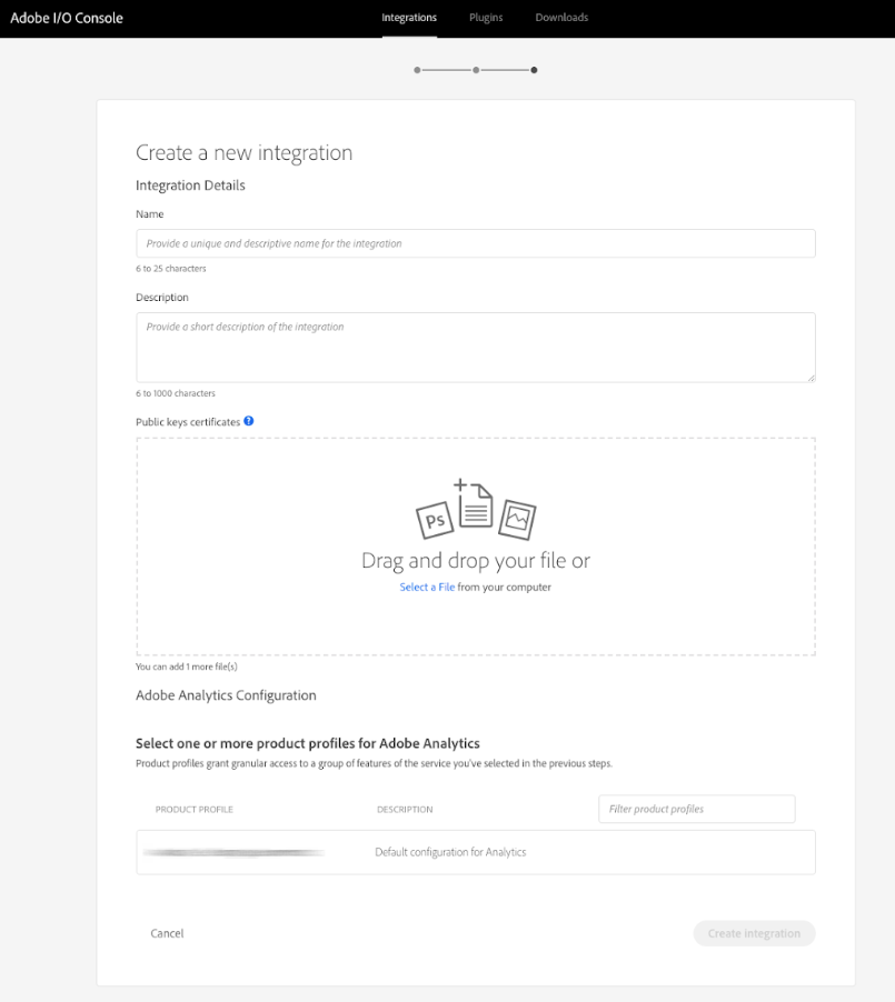 Example form for new service account integration.
