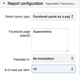 Example completed query type section, looking for 10 rows of Supermetrics posts