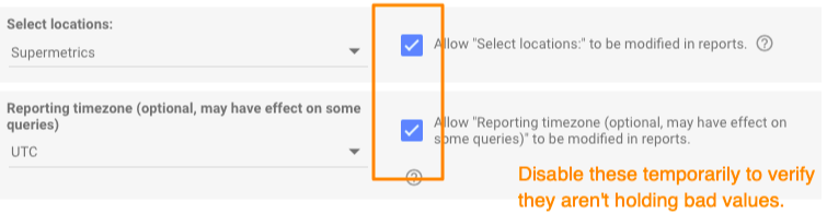 Orange box highlighting optional settings to allow the location list to be changed in the report directly