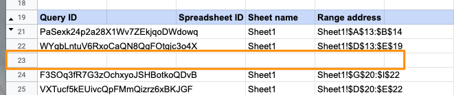 Orange box highlighting the deleted values for row 23 to set up the move.