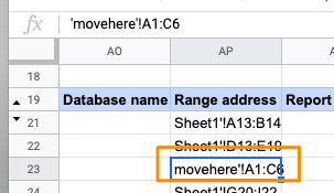 Updated Range address for query in row 23 to Sheet movehere and range A1 to C6