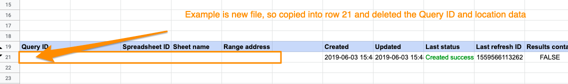 Orange box highlighting the copied query's Query ID, Sheet name, and Range address have been deleted.