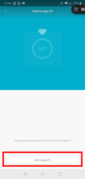 Connect Xiaomi Mi Band through Google Fit : WeFitter