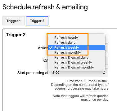 "Orange box highlights the values in the ""Actions:"" drop-down that are for the refresh-only type of triggers"