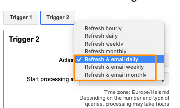 "Orange box highlights the values in the ""Actions:"" drop-down that are for the refresh & email type of triggers"