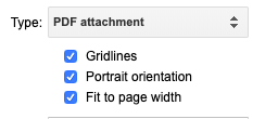 "Showing type of ""PDF attachment"" and blue check boxes selecting additional formatting options"