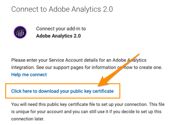 "Orange arrow points to blue link to ""Click here to download your public key certificate"", a file required for connection setup"