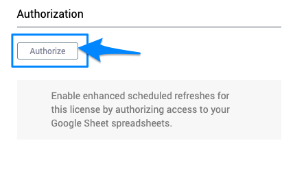 "Blue arrow pointing to the ""Authorize"" button which will start the process to enable the backend trigger system for this license."