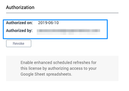 Blue box highlighting the setting is enabled with the presence of the authorize date and authorized by listing.