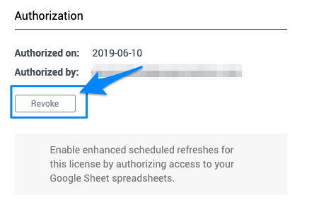 "Blue arrow points to the ""Revoke"" button, which will remove authorization to use the backend system"