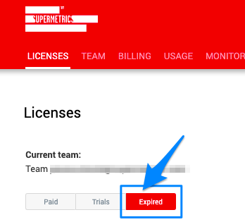"Blue arrow pointing to red ""Expired"" button, which will show only the Expired licenses and trials"