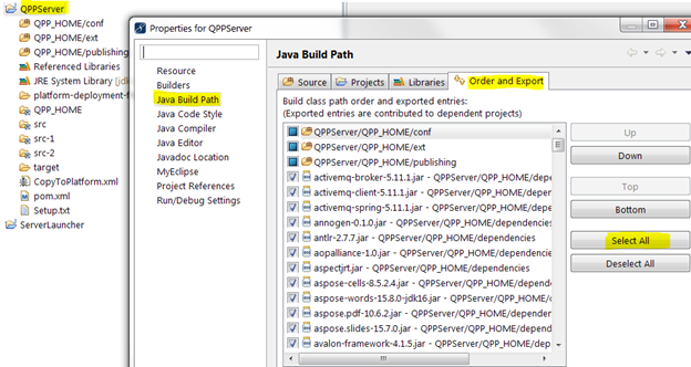 How to add jar files to Eclipse Environment for Quark