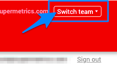 "Blue arrow points to ""Switch team"" button which will let you swap teams"
