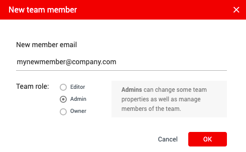 Example of the new member dialog showing the field to add the email and team role selection.