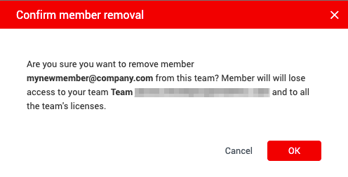 Example dialog asking if user is sure they want to remove this team member. Will list user being removed and what team they will be removed from