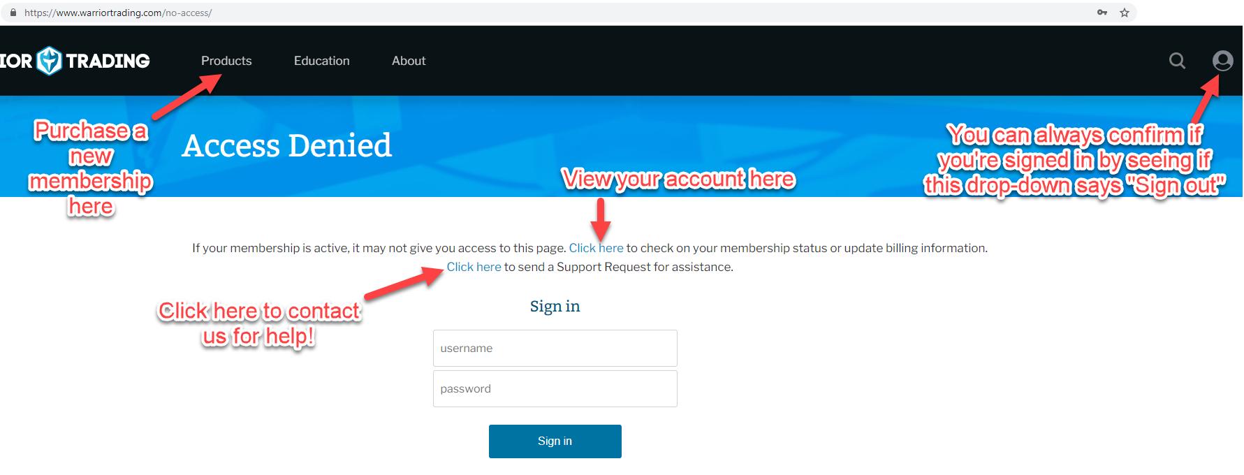 Access Denied Website Error - My Own Email