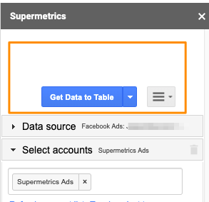 "Orange box highlights the blue button ""Get Data to Table"", which marks that the sidebar is ready to create a new query"