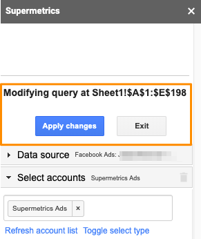 "Orange box highlights the text ""Modifying query at Sheet1!$A$1:$E$198"" with the blue button ""Apply changes"" and grey button ""Exit"""