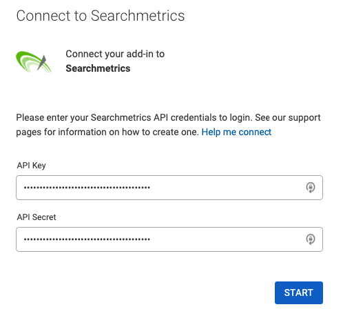 Example authentication form for Supermetrics showing the 2 needed fields to connect to your Searchmetrics data.