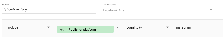 "Example Data Studio filter using ""Publisher platform"" equal to ""instagram"""