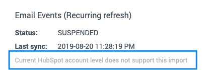 "Blue box highlights the text that ""Current HubSpot account level does not support this import""."
