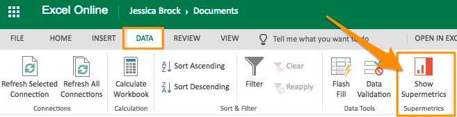 "Orange arrow pointing to the ""Show Supermetrics"" widget in the DATA tab of Excel"