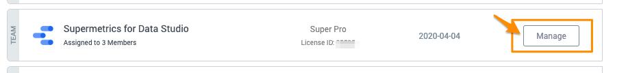 "Orange arrow points to ""Manage"" button on the Supermetrics for Data Studio license"