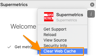"Orange arrow points to blue-highlighted ""Clear Web Cache"" menu item"