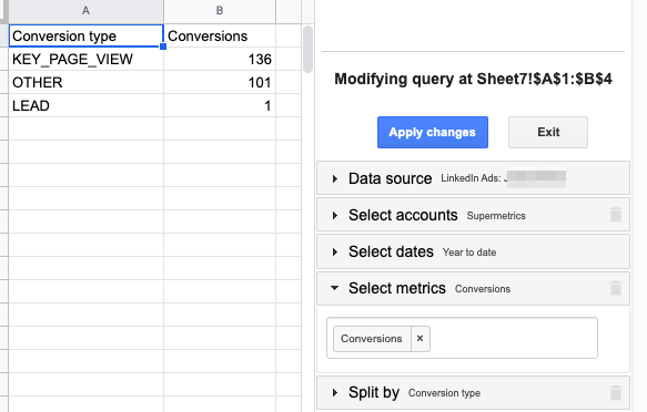 "Example setup in Google Sheets sidebar to get the ""Conversions"" metric and ""Conversion Type"" dimension"