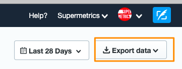 "Example of the Twitter Analytics reporting - ""Export Data"" option from the UI is highlighted by an orange box"