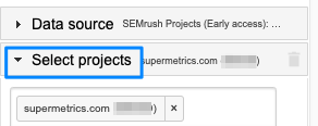 "Blue box highlights the ""Select projects"" section of the Supermetrics sidebar, the element is expanded and showing box with supermetrics.com project selected"