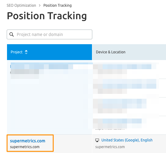 Screenshot of Position Tracking overview with the available projects listed for keyword tracking