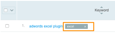 "Orange box highlights a tag added to a specific keyword for ""excel"""