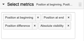 "Example of the ""Select metrics"" settings in the sidebar, showing various metrics selected to get the changes in the position of the keyword in the rankings"