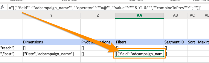 Orange arrow shows the special formula that is placed in column AA for the filter of that query