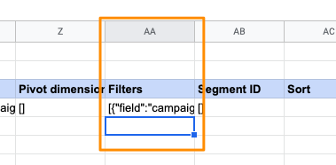Orange box highlights the Excel sheet column AA, which will contain the filter data for each query in the SupermetricsQueries sheet
