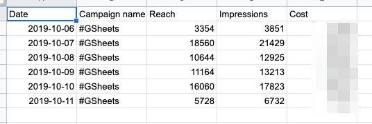 "Example of resulting data with the formula-based filter, showing only campaign names that contain ""GSheets"""