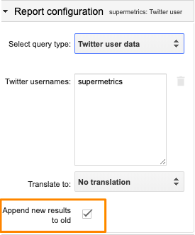 "Orange box highlighting the ""Append new results to old"" check box in the configuration for Twitter user data"