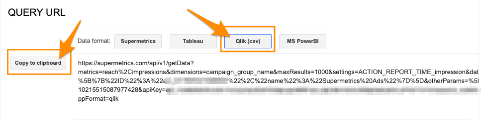 "Orange arrow pointing to the button ""Copy to clipboard"" to save the query URL to use with Qlik Sense"