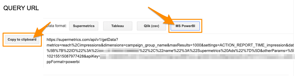 """Orange arrow pointing to the button """"Copy to clipboard"""" to save the query URL to use with Power BI"""