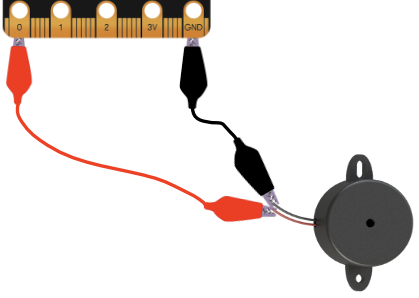 micro:bit connected to piezo speaker