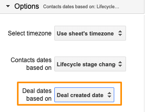 """Orange box highlighting the Google Sheets sidebar option for """"Deal dates based on"""" with the drop-down set to """"Deal created date"""""""