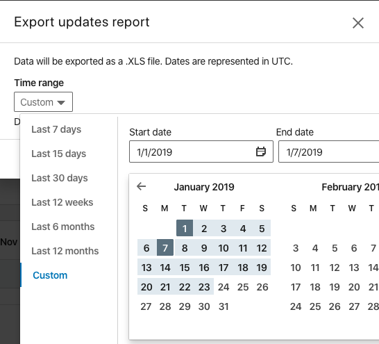 Example calendar selector element in the export report to pick the dates - should be set to the same as your Supermetrics query date range